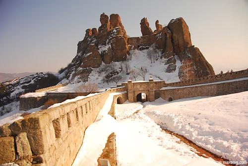 Belogradchik Fortress in snow , Белоградчишката крепост