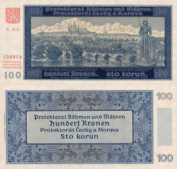100 korú Protektorát Čechy a Morava 1940, II. vydanie