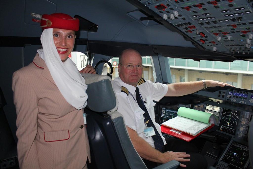Emirates Airbus A380 Cockpit Crew & Pilot