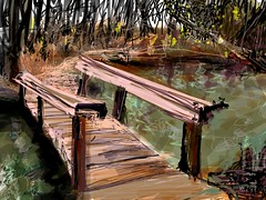 Woff Takes Bridge (flynryon) Tags: bridge flowers plants sun inspiration green art mike digital creek river circle landscape sketch vines woods wolf paint drawing dove warmth ants impressionism cosmic roost ryon iphone paintbook flynryon httppaintbookcaflynryon