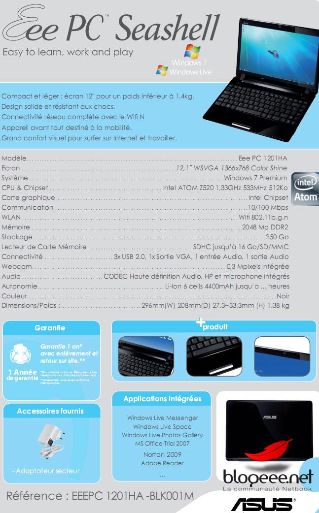 EeePC 1201HA fiche Technique