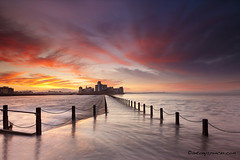 Knightstone Island Sunrise (antonyspencer) Tags: uk winter seascape sunrise landscape island coast somerset westonsupermare causeway bristolchannel flatholm knightstoneisland