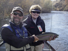 Diane with a Big Buck Klamath Steelhead