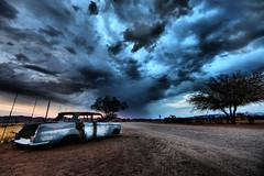 Abandoned (aftab.) Tags: africa sky abandoned car clouds sunrise namibia explorefp canonef14mmf28liiusm