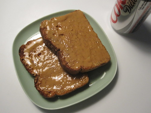 Peanut butter toasts, Diet Coke
