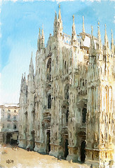 Duomo di Milano, Italy (piker77) Tags: urban italy painterly art digital photoshop watercolor painting interesting media natural aquarelle digitale manipulation simulation peinture illusion virtual watercolour transparent acuarela tablet technique wacom stylized pintura imitation  aquarela aquarell emulation malerei pittura virtuale virtuel naturalmedia    piker77wc arthystorybrush