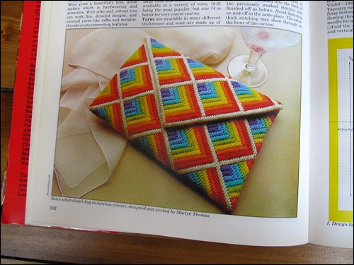 embroidered rainbow clutch bag