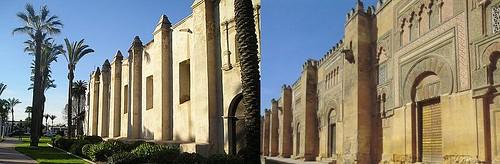 Imágenes comparativas de la iglesia de la Misión de San Gabriel (Los Ángeles) y la Mezquita de Córdoba.