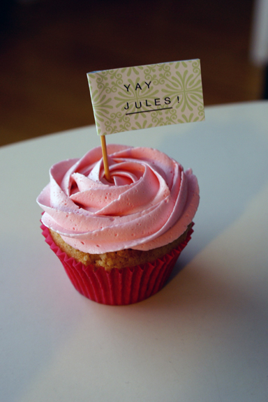 raspberry jam filled vanilla cupcake!