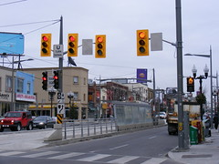 Standard Issue Ugly Traffic Lights (Sean_Marshall) Tags: toronto ontario trafficlight ttc tram row transit streetcar trafficsignal stclairavenue