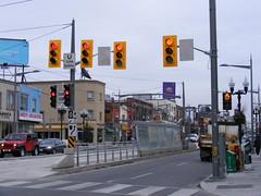 Standard Issue Ugly Traffic Lights (Sean_Marshall) Tags: toronto ontario trafficlight ttc tram row transit streetcar trafficsignal stclairavenue