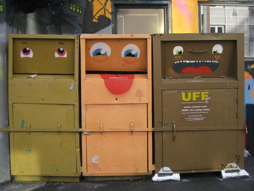 Smiling Disposal Bins in Copenhagen