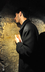 praying man (yuyu418) Tags: stone wall religious israel jerusalem pray tunnel foundation holy jew jewish spiritual holyland westernwall excavation kingdavid kotel 972 harod secondtemple westerntunnel firsttemple
