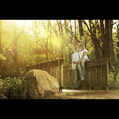 Ryan and Tabby ~ Magical Moment (~Phamster~) Tags: park bridge light sunlight texture canon is kiss couples romance flare 28 70200 engagment 580exii 5dmkii phamster