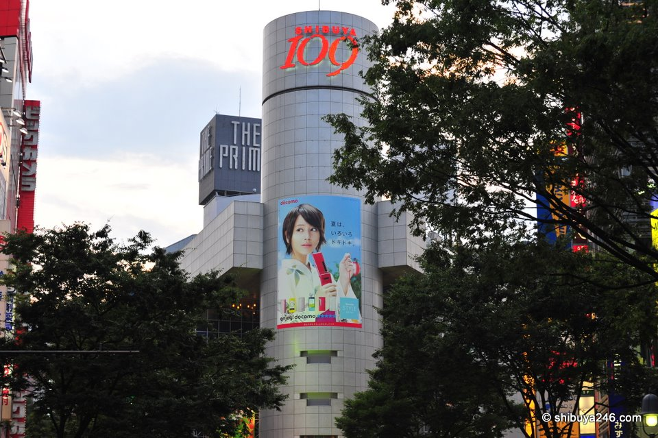 Horikita Maki advertising for docomo on the 109 building