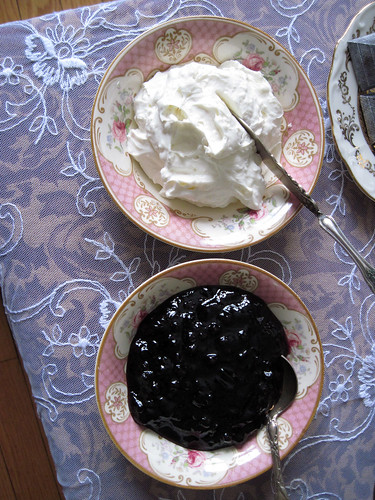 Devonshire cream and blueberry jam