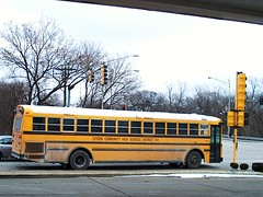 Southbound school bus at the intersection of Grand Avenue and River Road. River Grove Illinois. January 2007.