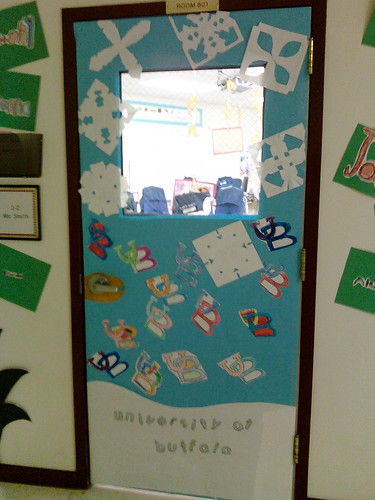 my door all decked out for College Awareness Week