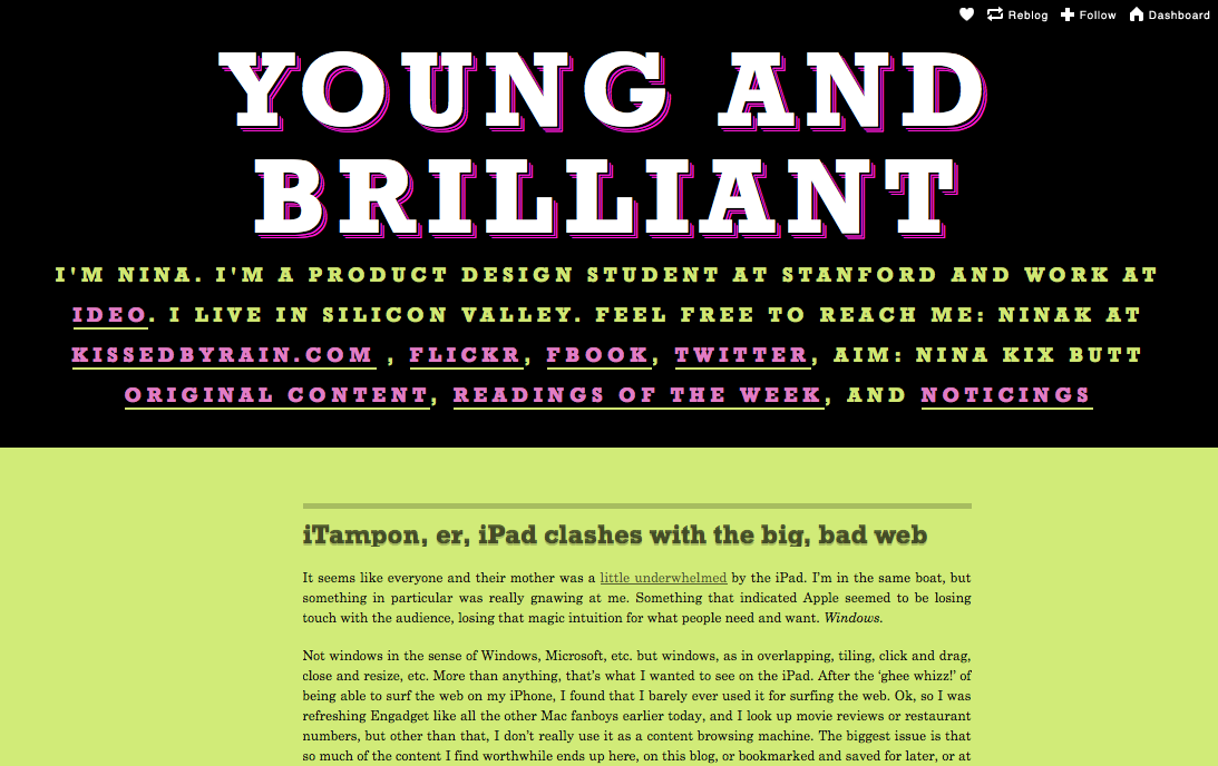 Young and Brilliant • iTampon, er, iPad clashes with the big, bad web_1264678560126