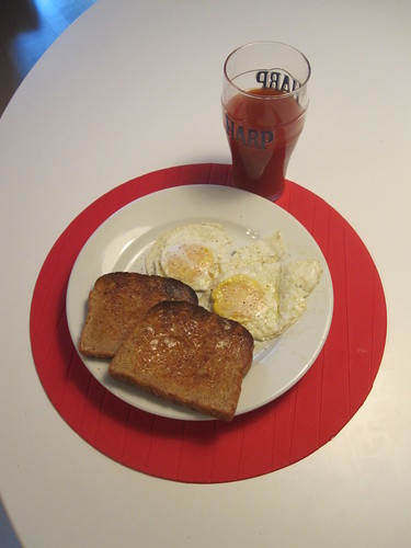 Eggs, toast, tomato juice