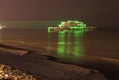 West Pier Lights (mrlee_1979) Tags: sea beach night sussex pier brighton waves westpier slowshutter laser archetecture beams