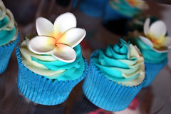 Tropical Frangipani Cupcakes (ConsumedbyCake) Tags: flowers blue wedding white tower cakes cookies cake glitter silver butterfly gold sussex cupcakes worthing brighton purple heart traditional cupcake frangipani swirl sparkly fayre instore preview debenhams sneak buttercream consumedbycake