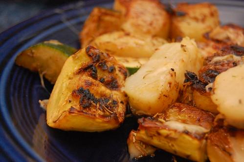 Broiled Zucchini, Yellow Squash and Potatoes, Lightly Herbed & Sprinkled with Cheese3