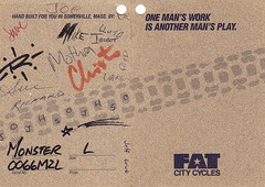 Monster Fat Card 2 (paulmoseleyphotos) Tags: paul moseley photographer photojournalist dallas fort worth paulmoseleyphotos fat chance city chris vintage mountain bike cycling bicycle yo eddy monster wicked cogs buckshaver shockabilly team somerville ant yeti ritchey fisher syncros shimano topline antique cycles campagnolo onza kook odyssey spinergy spox schwalbe top line components amp fork salsa mavic jersey