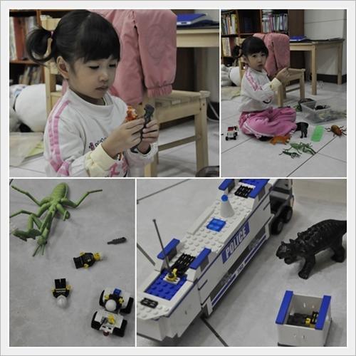 玩動物模型和小樂高
