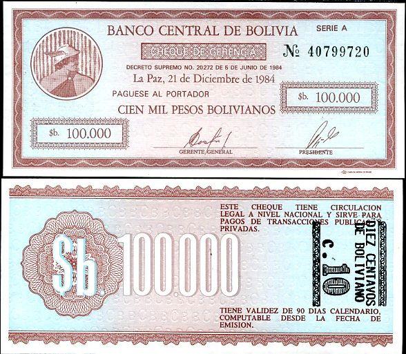 BOLÍVIA pretlač 10 CENTOV na 10,000 PESO 1987 P 197
