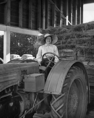 """Elise on tractor"""