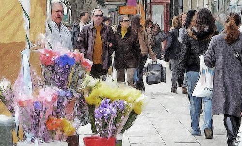 una mañana de sábado en una calle de madrid