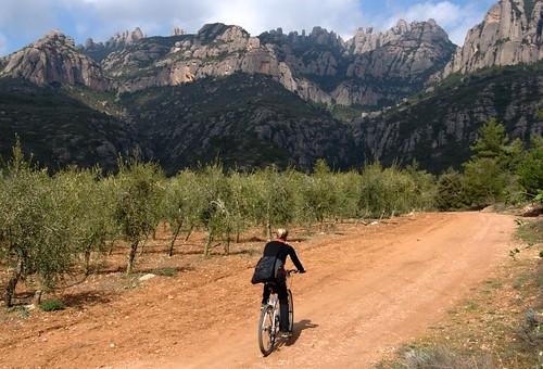 Biking towards Montserrat