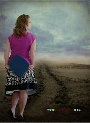 156/365 The road to. . . (SpunkyMonQy) Tags: road portrait woman texture me photomanipulation self purple desert nowhere manipulation skirt days 365 portfolio interview job unsure 365days