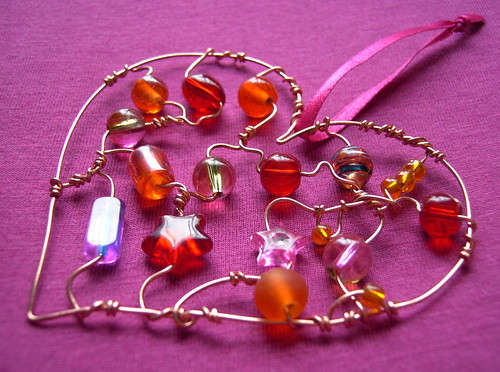 Fiery Heart - a beaded suncatcher