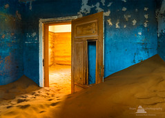Open Door, Kolmanskop, Namibia (www.fourcorners.photography) Tags: africa dunes ghosttown kolmanskuppe luederitz namibia sand skeletoncoast desert decay blue yellow peterboehringerphotography