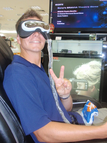 We stopped at the electronics store...Swiss ended up in a massage chair with massage glasses!
