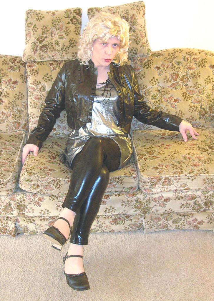 Metallic jacket & dress w/ shiny leggings