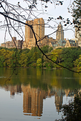 Central Park pond and buildings