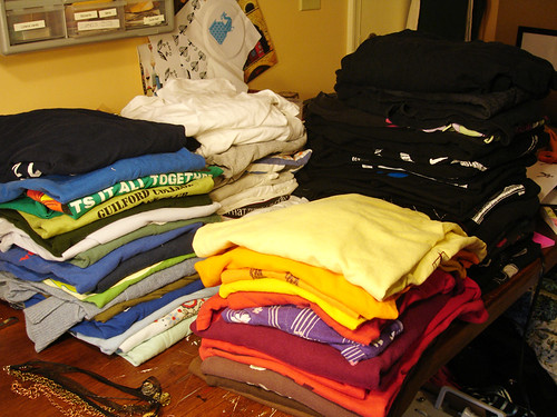 Piles of tshirts
