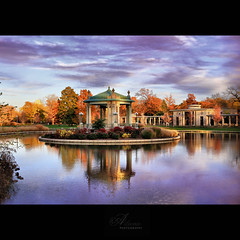 Autumn in Forest Park (Aileenie) Tags: autumn trees sunset sky reflection fall leaves architecture clouds pond stlouis ducks hdr forestpark