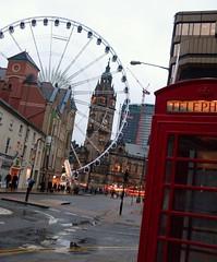 Sheffield Eye (Dun.can) Tags: street city red wheel lights sheffield yorkshire ferriswheel townhall bigwheel citycentre phonebox southyorkshire redtelephonebox leopoldstreet sheffieldeye