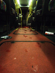 Littered. (JemmaJusticePhotography.) Tags: red colour bus art yellow newcastle photography justice floor go north tyne mcdonalds east litter footsteps upon jemma jemmysaur jemmaammej
