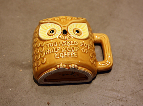 Owl half mug of coffee, wood handle, Canada crest, made in Japan