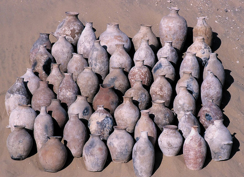 A representative sampling of the ca. 700 wine jars from the Scorpion tomb. (Photograph courtesy of German Institute of Archaeology, Cairo.)