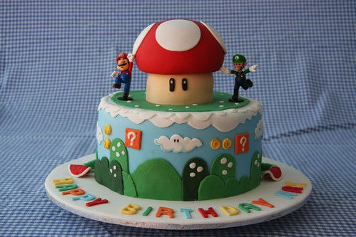 Max's birthday cake for his Mario Bothers birthday party