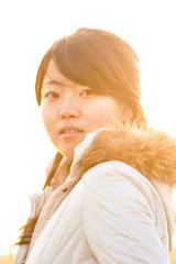 Sunset photoshoot in Weinan  (Akira2506) Tags: china winter sunset portrait orange woman sun sunlight cute colors girl beautiful lady canon asian model warm pretty colours chinese chick flare    shaanxi     weinan canonef24105mmf4lisusm   canon400d