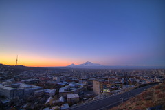 Yet Another Sunrise over Yerevan /      (Seroujo) Tags: panorama digital sunrise canon eos rebel tokina mount armenia yerevan 11mm masis ararat 500d      t1i