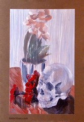 Tex Mex Still Life with a Skull and Flowers