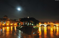 Moon on the river (Capitan Mirino ( il Tartarughino )) Tags: italy moon roma water reflections river lights nightshot fiume luna tevere luci acqua distillery riflessi lazio notturno nocturn isolatiberina crazyheart yourcountry